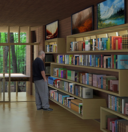 Modernist Art Retreat - Studio Library Perspective.