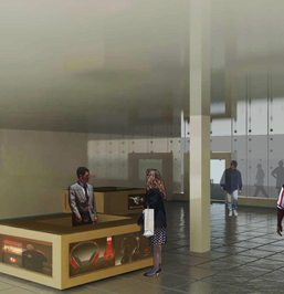 Rendering of the Mobile Concessions, located in the Ground Floor of the Apple iBuilding. By FutureKraft Designs.