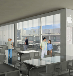 Rendering of the iCafe, located on the Ground Floor of the Apple iBuilding. By FutureKraft Designs.