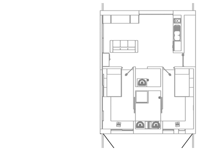 Floorplan of the iHome Apartment Unit, located in the housing section of the Apple iBuilding. By FutureKraft Designs.