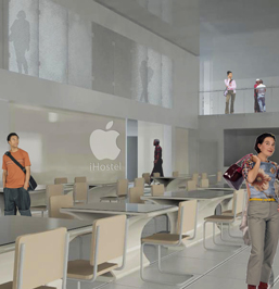 Rendering of the iHostel, located in the 2nd and 3rd Floor of the Apple iBuilding. By FutureKraft Designs.