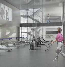 Rendering of the iHostel Exercise Room, located in the 2nd Floor of the Apple iBuilding. By FutureKraft Designs.